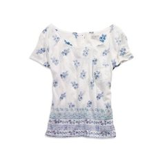 Boho Floral Top ($20) ❤ liked on Polyvore featuring tops, shirts, blouses, t-shirts, clothing & accessories, draped tops, scoop neck top, bohemian shirts, bohemian tops and scalloped shirt