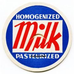 Here is a red, white and blue vintage milk bottle cap for homogenized pasteurized milk.