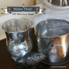 DIY Mercury Glass - this looks super easy!  Any piece of glassware, a certain kind of spray paint and a vinegar water solution in a spray bottle.