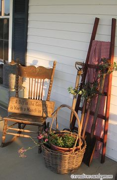 country accents on porch