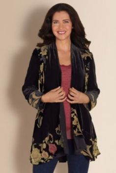 Silk Velvet Jacquette - Silk Drape Top, Vintage Floral Print, Black Drape Cardigan | Soft Surroundings