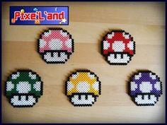 Compilation des cinq Champignon de Mario en perle Hama Champignons de Mario…