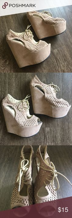 💕Charlotte Russe💕Beige Wedges 👡 Super high beige wedges from Charlotte Russe in size 8 1/2! These shoes have been wore about 5 times between 2014 - 2015 and have been sitting in my closet ever since! Definitely for a girl who knows how to walk in heels because these babies are about 5 - 6 inches 😯 Random orange mark at the bottom of the front right shoe, white scratch inside of the right shoe Charlotte Russe Shoes Wedges