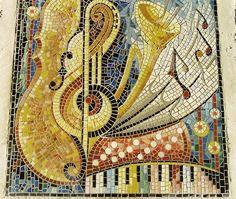 """""""La musique"""" mosaïque en grès cérame, parvis de salle des fêtes   by Patricia Hourcq"""