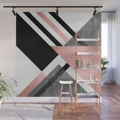 Foldings 2 Wall Mural by Elisabeth Fredriksson - X Bedroom Wall Designs, Wall Decor Design, Accent Wall Bedroom, Bedroom Decor, Geometric Wall Paint, Wall Painting Decor, Folding Walls, Wall Murals, Home Interior Design