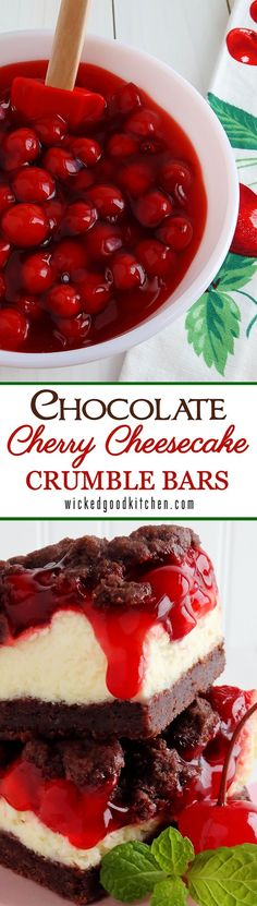 Chocolate Cherry Cheesecake Crumble Bars ~ A buttery chocolate crumble crust that tastes like scrumptious chocolate cookies crossed with pie pastry, cheesecake filling that rivals any New York Style Cheesecake and tart cherry pie filling makes the most irresistible crumble bars ever. SO GOOD! Perfect for Valentine's Day! | dessert recipe