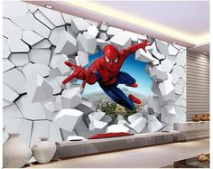 photo on sale at reasonable prices, buy Spiderman wallpaper Custom Photo wallpaper Super hero Wall mural Boys Bedroom Living room Nursery School Designer Room decor from mobile site on Aliexpress Now! Brick Wallpaper Bedroom, White Brick Wallpaper, 3d Wallpaper For Walls, Floor Wallpaper, Man Wallpaper, Modern Wallpaper, Kids Wall Murals, Kids Room Wall Art, Mural Wall