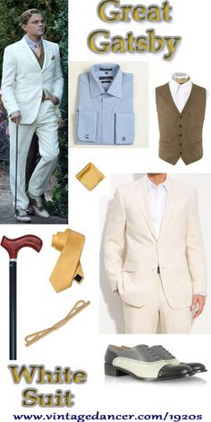 The Great Gatsby White Suit from the 2013 movie with Leonard DiCaprio playing Jay Gatsby. How to create your own 1920's white suit look: http://www.vintagedancer.com/1920s/great-gatsby-white-suit/