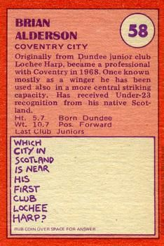 1974-75 A&BC Gum #58 Brian Alderson Back