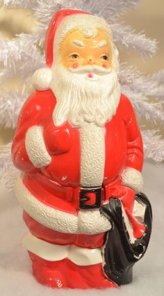 plastic santa blow mold vintage christmas decoration santa claus st nicholaus red white black empire 1960s