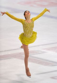 Yu-Na Kim - ISU Golden Spin of Zagreb -Yellow Figure Skating / Ice Skating dress inspiration for Designs. Sports Day Outfit, Sport Outfits, Kim Yuna, Figure Skating Costumes, Skateboard Girl, Figure Skating Dresses, Dance Wear, Skater Dress, Leotards
