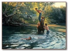 """The Swimming Hole"" Tim Cox - Western Art"
