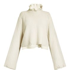 Golden Goose Deluxe Brand Malia fluted-collar ribbed-knit wool sweater (1.415 BRL) ❤ liked on Polyvore featuring tops, sweaters, ivory, ivory sweater, distressed sweater, white long sleeve top, white ribbed sweater and ripped sweaters