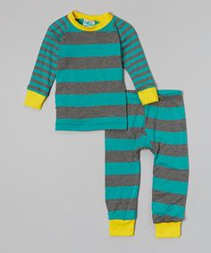 Loving this Teal & Gray Stripe Pajama Set - Infant, Toddler & Boys on #zulily! #zulilyfinds