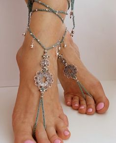 Bridal barefoot sandals, Teal, Bohemian Wedding Sandals Crochet anklet Hippie bride Hippie sandals Belly dance accessories Boho gift for her by FiArt on Etsy https://www.etsy.com/listing/230739653/bridal-barefoot-sandals-teal-bohemian