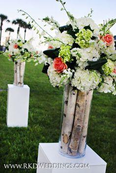 Beautiful and Elegant Beach Wedding ceremony altar pieces of white birch branches, white hydrangea, mini green hydrangea, peach Cinnamon roses and white dendrobium orchids