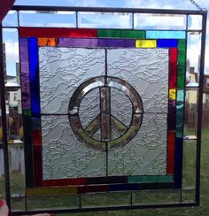 Stained Glass Rainbow Peace Sign - from Delphi Artist Gallery by Derryrush Designs