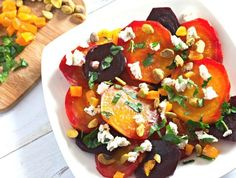 Goat Cheese Beet Salad with Apricot. Easy and healthy this beet salad is perfect for Easter brunch or dinner as a salad course or as a vegetarian side dish. Spinach Salad Recipes, Asparagus Recipe, Chicken Salad Recipes, Healthy Salad Recipes, Healthy Eats, Easy Cold Pasta Salad, Vegetarian Side Dishes, Vegetarian Recipes, Vegetarian Brunch