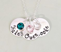 Mommy Necklace  Hand Stamped Personalized by ForeverHeartPrints, $56.00. Could I please get it with the Daniela font