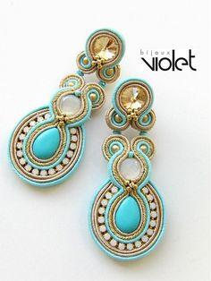 Soutache+earrings++Golden+Turquoise+by+Violetbijoux+on+Etsy