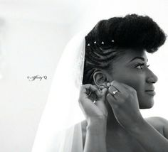 Natural hair styles on brides. We love this. It's so different, rather than traditional styles!