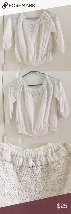 AE linen off the shoulder top White linen crochet off the shoulder top. Perfect for summer and as a swimsuit cover top American Eagle Outfitters Tops Blouses