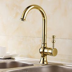 Antique Golden Brass 360° Rotatable Kitchen Mixer Sink Tap TA158G