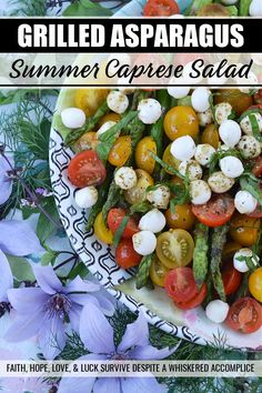 Grilled Asparagus Summer Caprese Salad - Grilled asparagus is topped with halved cherry tomatoes and fresh mozzarella in this room-temperature fresh summer salad. After being drizzled with a simple homemade balsamic vinegar dressing, this asparagus caprese salad instantly transforms into an appetizer, salad, or side dish perfect for your next BBQ, picnic, or cookout. Grilled Asparagus, Salad Bar, Side Salad, Balsamic Vinegar Dressing, Grilling Recipes, Picnic Recipes, Salad Recipes, Vegan Recipes, Vegane Rezepte