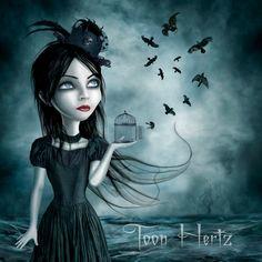 Tim Burton, Art Sinistre, Dibujos Dark, Gothic Artwork, Dragons, Mediums Of Art, Beautiful Dark Art, Kobold, Goth Art