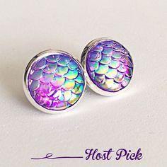 3 For 15 Lavender Rainbow Mermaid Scale Earrings