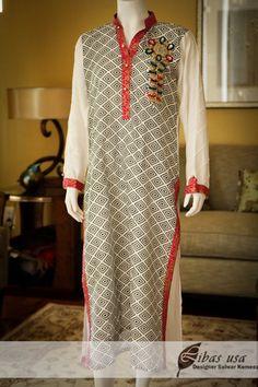 Black and white embellished kurti on $65