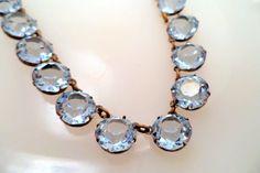 Stunning Art Deco Blue Austrian Crystal Necklace Open Bezel Setting