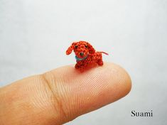 1/3 Inch Micro Crochet Dachshund Sausage Dog Tiny by SuAmi, $40.00