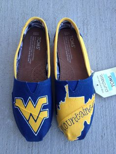 West Virginia University Game Day TOMS by Brush and Bow on Etsy. I reallllllly want these!