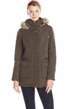 Calvin Klein Women's Quilted Jacket with Hood, Loden, X-Small ❤ Calvin Klein Women's Outerwear
