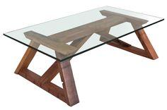 Mesa de centro madera roble estilo corchete. www.amoble.cl