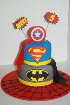 Superhero Birthday Cake... or bridal shower cake but with Superman, Ironman and X-men(yeah yeah I mixed DC and Marvel)