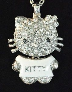 """I found 'Vintage HELLO KITTY Rhinestone MOVING BODY 26"""" Necklace Pendant 2.25"""" Silver CAT' on Wish, check it out!"""