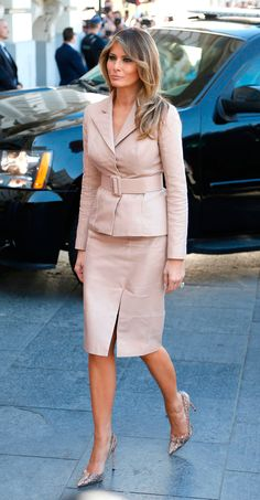 first lady Melania Trump arrives at the Magritte Museum in Brussels, May REUTERS/Francois Lenoir Milania Trump Style, Malania Trump, American First Ladies, Fashion News, Fashion Outfits, Indian Designer Suits, First Lady Melania Trump, Professional Outfits, Royal Fashion