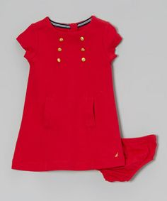 Another great find on #zulily! Red Short Sleeve Ponte Dress - Girls by Nautica #zulilyfinds
