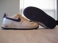 Girls Nike Air Force 1 White/ Purple Low Leather Shoes Size 12.5c $17.88