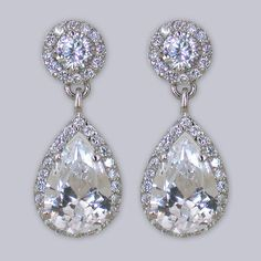 Designer Bridal Earrings, Vintage Teardrop Earrings, CZ... sold out but i will find some just like it!