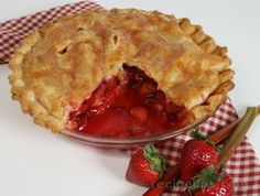 Ingredients included in this recipe are Pastry for double crust 9-inch pie, fresh rhubarb, chopped, fresh strawberries, sliced into thirds, granulated sugar, cornstarch, salt, fresh lemon juice, cinnamon, to 2 teaspoons unsalted butter, freshly ground nutmeg, egg white.