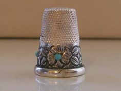Lovely Floral Decorated Silver Thimble with 3 Blue Stones   Collectibles, Sewing (1930-Now), Thimbles   eBay!