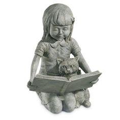 Craft-Tex/Ladybug Reading With My Kitten Garden Statue Tea Stain - $199.99