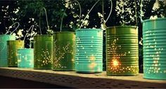 DIY tin can lanterns and other outdoor lighting ideas! Luminaria Diy, Tin Can Lanterns, Mason Jar Lanterns, Garden Lanterns, Hanging Lanterns, Hanging Lights, Outdoor Lighting, Outdoor Decor, Lighting Ideas