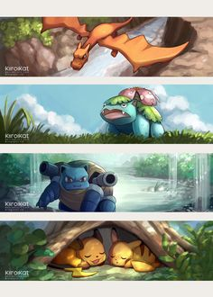 Happy 20th Anniversary, Pokemon!! by KiiroiKat.deviantart.com on @DeviantArt (Charizard, Venusaur, Blastoise, Raichu and Pikachu)