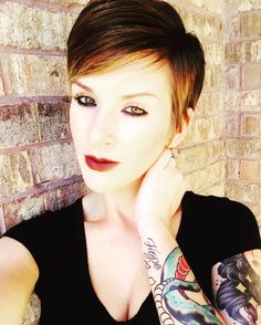 short ombre pixie cut with bangs