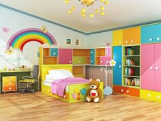 Gestaltung kinderzimmer gestalten wandgestaltung schreibtisch kleiderschrank teppich regenbogen