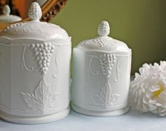 Milk Glass Canister with Lid. Colony Harvest Pattern, by  Indiana Glass. Milk Glass Containers with Grapevine Design.  Milk Glass 1950-1960.